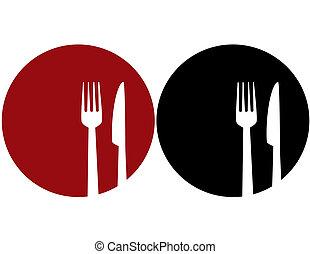 Plata con tenedor y cuchillo