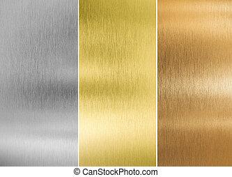 Plata de alta calidad, oro y texturas de metal de bronce