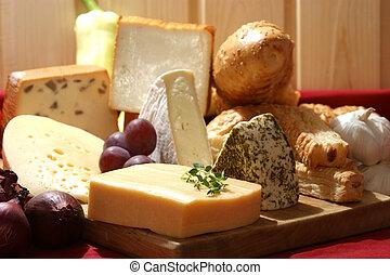 Plata de queso con queso fresco orgánico