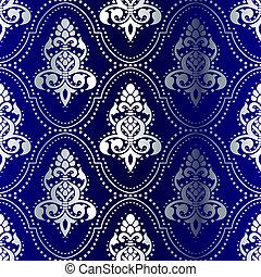 Plata en un patrón indio sin costura azul con puntos