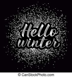 plata, mano, disco, tipografía, hola, invierno, textured, vector, poster., 3d, lettering., illustration., caligrafía, letras, fiesta, fondo.