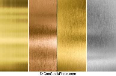Plata, oro y fondo de textura de metal de bronce