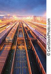 Plataforma de transporte de tren, transporte de carga