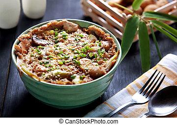 plato, arroz, tazón, japonés, oyakodon