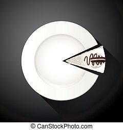 Plato blanco y rebanadas de pastel