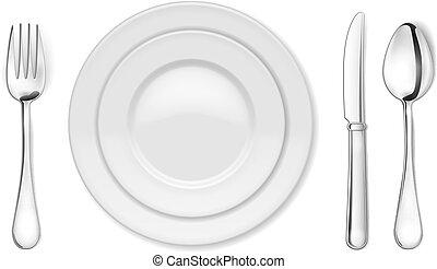 Plato de cena, cuchillo, tenedor y cuchara