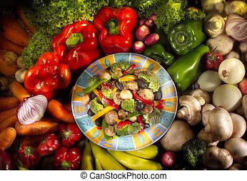 plato del alimento, vegetariano, vegetales