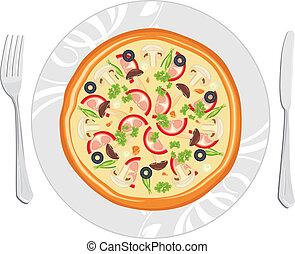 plato, delicioso, pizza