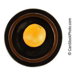 plato, naranja, porción, negro, aislado