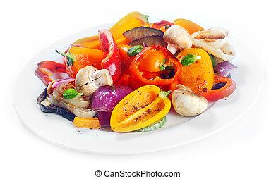 plato, suculento, vegetales, lado, asado