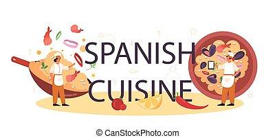 plato, tradicional, español, tipográfico, header., cocina