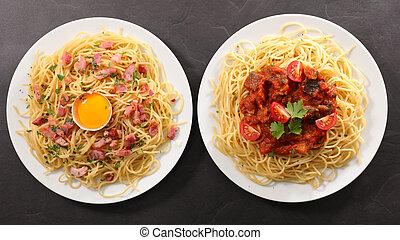 Plato variado de espagueti y salsa