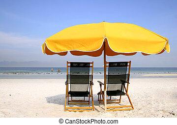 playa, amarillo, paraguas