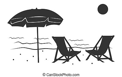 playa, arenoso, paraguas, sillas, icono, vacationers.
