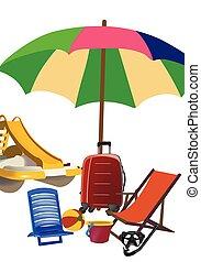 playa, barco del pedal, deckchair, artículos, paraguas