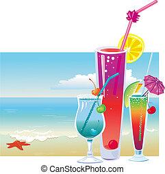 playa, cócteles