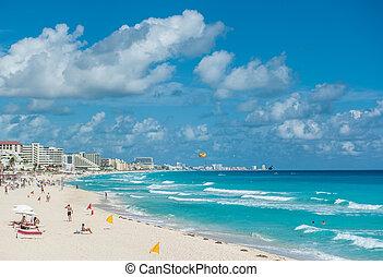 playa cancun, panorama, méxico