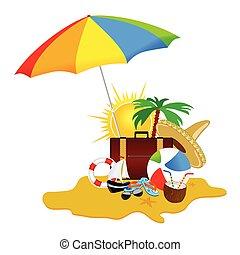 Playa con materia vector de arte ilustración parte cinco