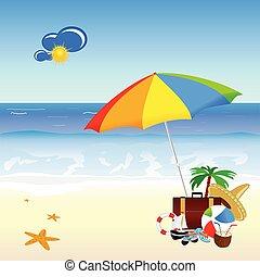 Playa con material de ilustración de vector de arte