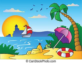 Playa con paraguas y castillo de arena