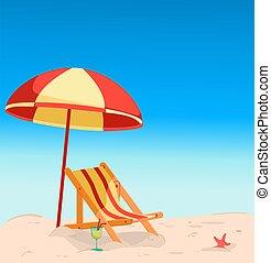 playa, cubierta, debajo, silla, umbrella.