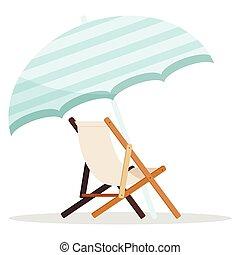 playa, de madera, paraguas blanco, azul, longue, fondo., chaise, aislado, icono