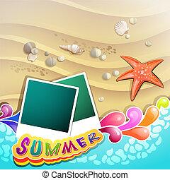 Playa de verano con estrella de mar