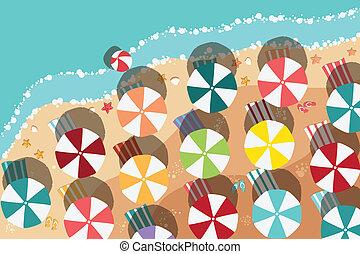 Playa de verano en diseño plano