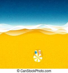 playa, debajo, paraguas, sun loungers