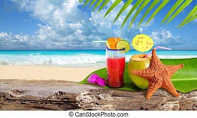 playa, estrellas de mar, cóctel, tropical, coco