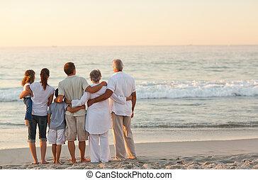 playa, familia , hermoso