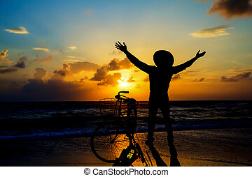playa., hombre, mañana