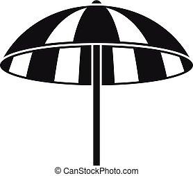 playa, icono, paraguas, estilo, simple