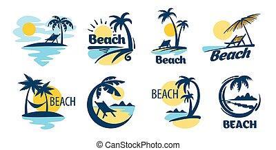 playa, iconos, vector, conjunto