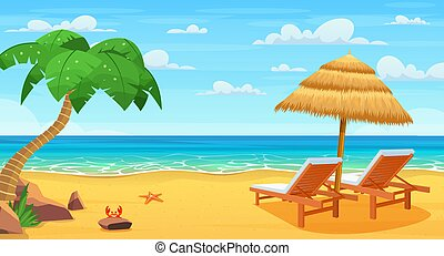 playa, loungers., mar, sol