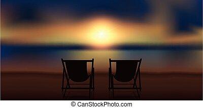 playa, magia, sillas, cubierta, dos, ocaso
