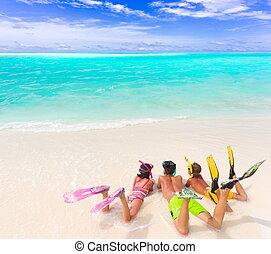 playa, niños, engranaje, zambullida
