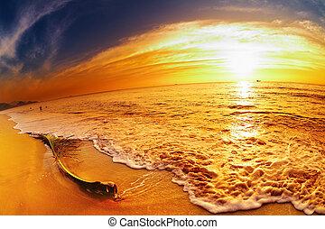 playa, ocaso, tailandia, tropical