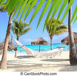 playa, palma, hamaca, caribe, árboles