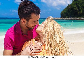 playa., recién casados, luna de miel, tropical, diversión, teniendo