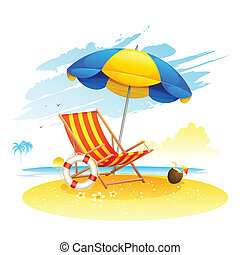 playa, recliner, mar