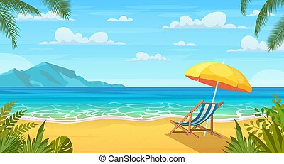 playa, sol, mar, loungers.