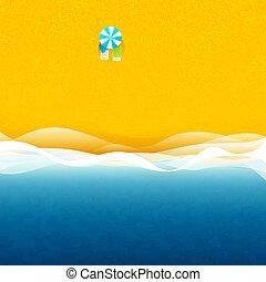 playa, sun loungers, debajo, paraguas