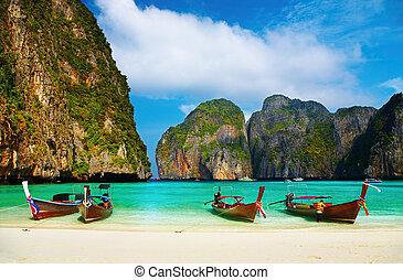 Playa tropical, Bahía de Maya, Tailandia