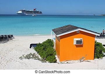 playa tropical, colorido, cabaña
