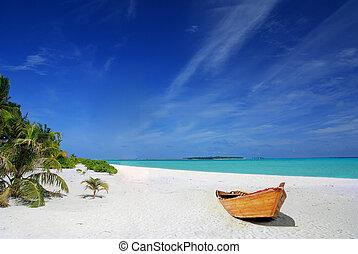Playa tropical y barco