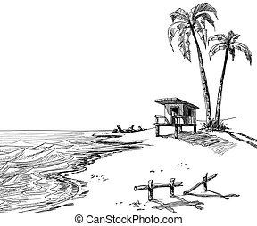 playa, verano, bosquejo