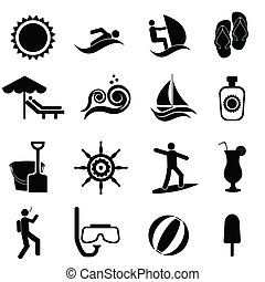 Playa, verano, viaje y icono náutico