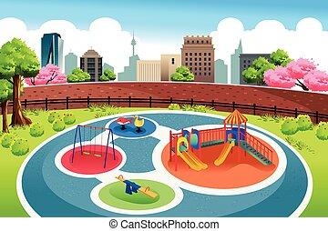 Playground en el fondo de la ciudad