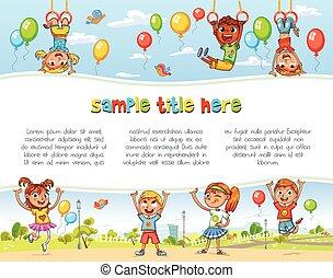 Playground. Niños felices sosteniendo un póster en blanco